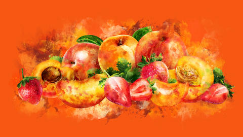 The appearance of the apricot, peach and strawberry on a watercolor stain CG動画