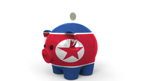 Coins fall into piggy bank painted with flag of North Korea. National banking Live Action