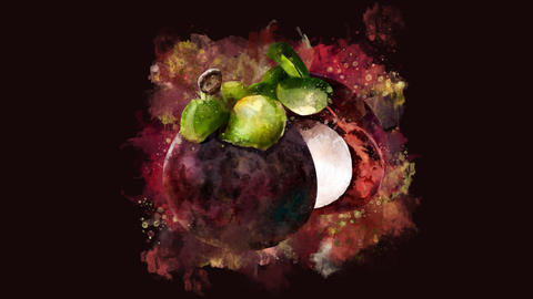 The appearance of the mangosteen on a watercolor stain Animation