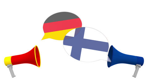 Speech bubbles with flags of Finland and Germany. Intercultural dialogue or Live Action
