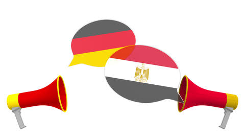 Flags of Egypt and Germany on speech bubbles with loudspeakers. Intercultural Live Action