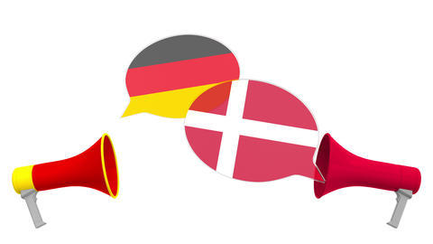 Speech bubbles with flags of Denmark and Germany and loudspeakers. Intercultural Live Action