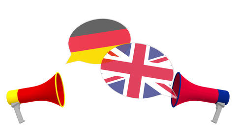 Speech bubbles with flags of Britain and Germany and loudspeakers. Intercultural Live Action