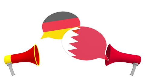 Speech bubbles with flags of Bahrain and Germany. Intercultural dialogue or Live Action