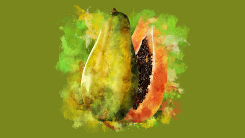The appearance of the papaya on a watercolor stain GIF