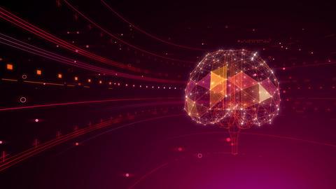 AI artificial intelligence digital network technologies 19 2 Brain 6 red 4k Animation