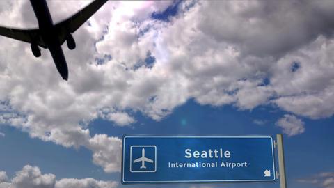Airplane landing at Seattle, Washington Live Action