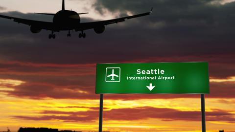 Plane landing in Seattle Washington Live Action