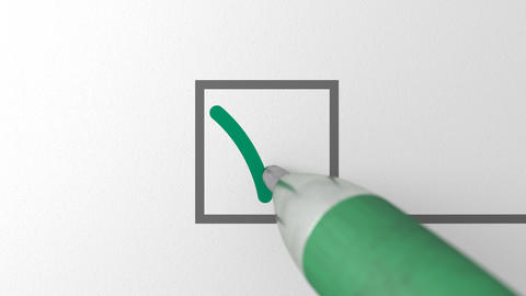 Close up loop of green ballpen drawing green check mark sign in a checkbox Live Action