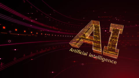 AI artificial intelligence digital network technologies 19 2 Logo 6 red 4k Videos animados