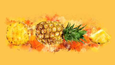 The appearance of the pineapple on a watercolor stain GIF