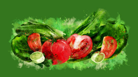 The appearance of the tomato, salad and onion on a watercolor stain GIF