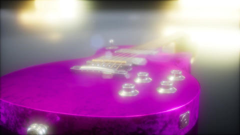 electric guitar in the dark with bright lights Footage