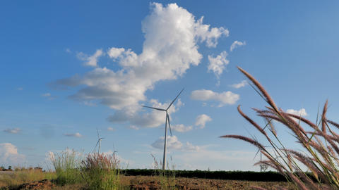 Scenic landscape of the wind turbine for electric power make against nature agriculture farm for Footage