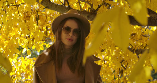Charming young Caucasian girl in sunglasses and hat posing in sunlight in the Live Action