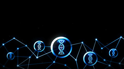 Biotechnology research with DNA icons floating. Biology gene symbol. Life evolution sign. Polygonal Animation