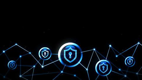 Shield security with safety lock icon. Internet connection. Firewall,Password,Protection. Privacy CG動画