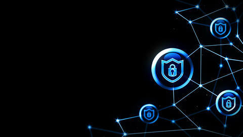 Shield security with safety lock icon. Internet connection. Firewall,Password,Protection. Privacy Animation