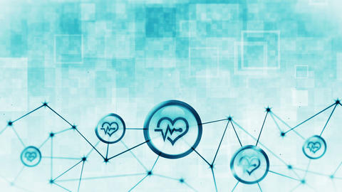 Heart with a heart beat icons floating. Electro Cardiogram. ECG. Communication connection. Heart Animation