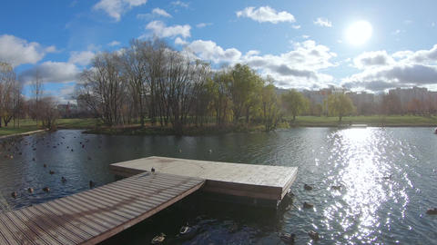 Wooden recreation area on the pontoon Live Action