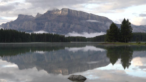 Mount Rundle and Two Jack Lake with early morning mood, Banff National Park, Alberta, Canada Live Action