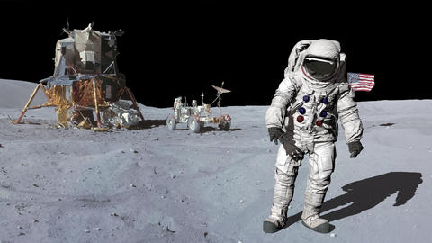 Astronaut on the moon looking around. Elements of this video furnished by NASA Footage