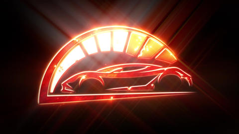 Red Sport Car Logo with Reveal Effect Overlay Graphic Element CG動画