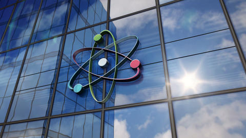 Atom symbol on glass mirrored building Animation
