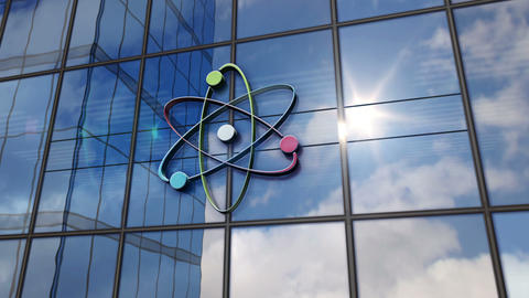 [alt video] Atom symbol on glass mirrored building