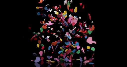 Hearts for Valentine's Day Party Exploding on Black Background, Slow Motion 4K Footage