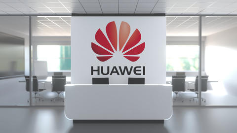 Modern office meeting room and reception with HUAWEI TECHNOLOGIES CO. LTD. logo Live Action