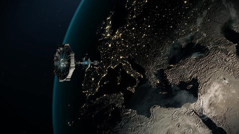 Space station revolving around the world, and deep space, 3d render Animation