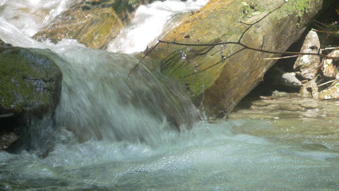 Waterfall and Stream over Rocks Live Action