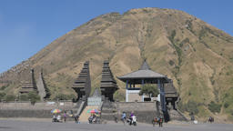Pura Luhur Poten temple and Batok volcano,Bromo,Java,Indonesia Footage