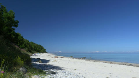 Beach scene with blue sky. Rügen - Baltic Sea Footage