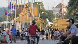 People enjoying riverside walk,Phnom Penh,Cambodia Footage