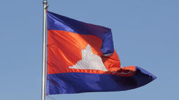 Cambodian flag in the wind,Phnom Penh,Cambodia Footage