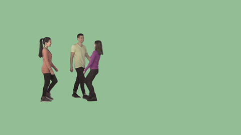 Two girls and guy are walking, laughing, smiling. Clip with alpha channel Live Action