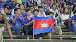 Boy with cambodian flag in stadium,Phnom Penh,Cambodia Footage