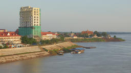 Riverfront buildings,Kampong Cham,Cambodia Footage