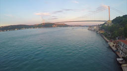 Aerial view of the Istanbul Bosphorus Bridge Footage