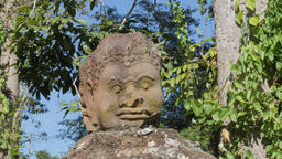 Khmer head statue at eastern gate of Angkor thom,Siem Reap,Cambodia Footage