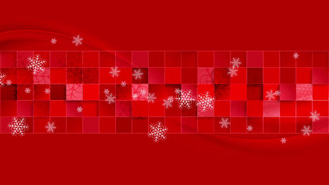 Bright red geometric wavy Christmas video clip Animation