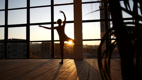 The girl is engaged in modern jazz ballet in a loft studio. A woman is spinning Live Action