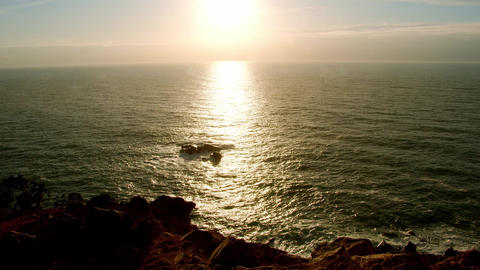 Sunset over Cape Roca in Portugal - the most western point of Europe Live Action