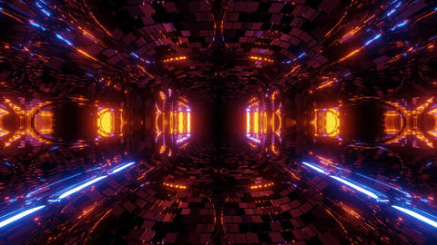 futuristic fantasy sci-fi tunnel corridor with electric reflection 3d Animation