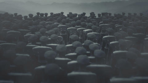 World War One British Troops Standing in Silent Before a Battle Live Action