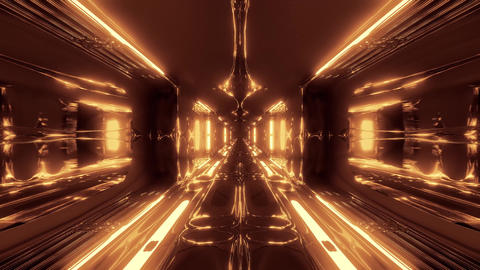 futuristic sci-fi alien space tunnel corridor with glass windows 3d illustration Animation