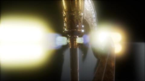 Harp instrument in dark with bright lights Footage
