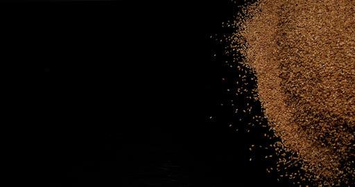 Gold Coloured Sesam, sesamum indicum, Seeds falling against Black Background, slow motion 4K Live Action